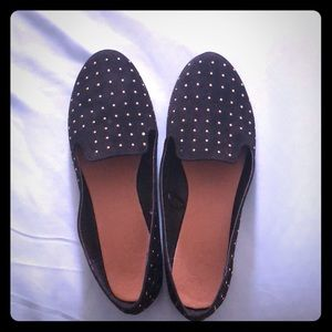 Black Flats with Gold Studs